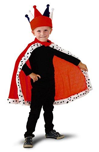 Folat Kinder Kostüm Umhang Cape Kleiner König 4-8 Jahre (ohne Krone) Faschin