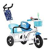 JHGK Doppio Triciclo, Bici da Passeggino Gemellare in Acciaio al Carbonio, Maniglia A Spinta in Titanio, Passeggino da Esterno per Bambini, Doppio Tricycle,Blu