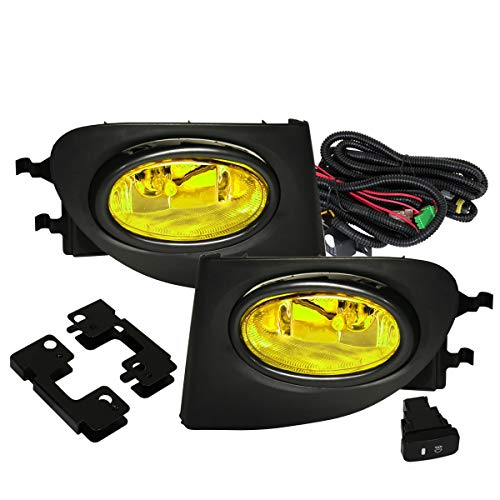 Fit 2002-2005 Honda Civic (SI EP3 Hatchback Only) Front Bumper Fog Lights Yelllow Includes H11 Bulbs Wiring Harness and Switch