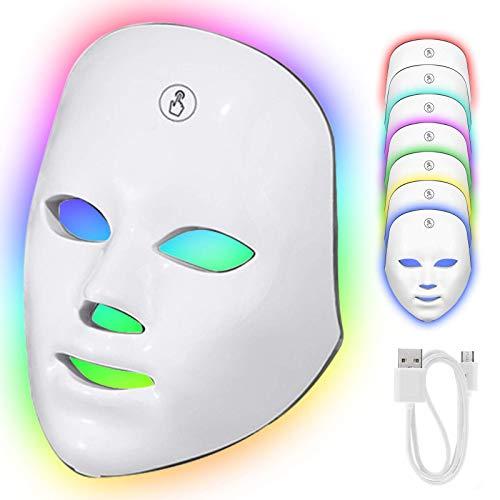LED Gesichtsmaske mit Touch Button, 7 Farben LED Lichttherapie Maske für Gesicht Anti-falten Akne Entfernung Hautverjüngung Poren schrumpfen Ölige Haut Anti Aging Therapie Beauty