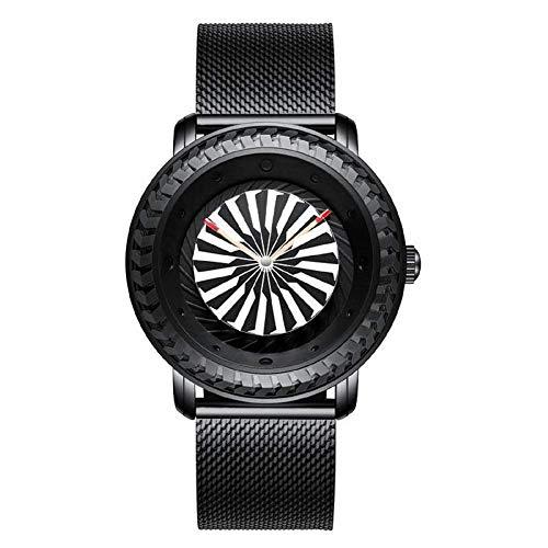 BHGWR Herren Uhr Analog Quarz Uhren mit Schwarz Edelstahl Armband, 30M wasserdicht Luxus Mode Beiläufig Armbanduhr für Männer mit Turbinenrad