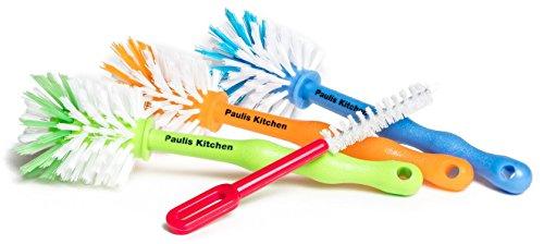 Paulis Kitchen 3er Pack Mixtopf Spülbürste mit Nylonborsten + 1 Reinigungsbürste (1 x orange/1 x blau/1 x grün)