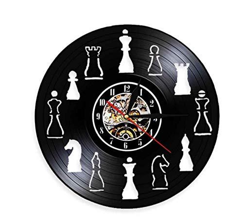 Vinilo Pared Reloj Competencia Internacional Reloj Colgante de Vinilo Creativo Piezas de ajedrez Club Reloj de Disco de Vinilo Decoración del hogar Arte-LED