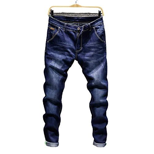 Huntrly Pantalones Vaqueros para Hombre Primavera y otoño Pantalones de Mezclilla Ajustados Rectos Retro Casuales Europeos y Americanos Pantalones Vaqueros Casuales elásticos de Moda 34