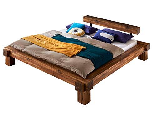 SAM Balkenbett 180x200 cm Casa, Natur-Holzbett aus Akazienholz, lackiertes & massives Holzbett, einteiliges Kopfteil in Balkenoptik, jedes Bett EIN pflegeleichtes Unikat