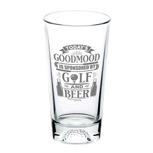 BadBananas - Unique Golf Gifts For Men - Today's Good Mood Is Sponsored by Golf and Beer - 16 oz Golf Beer Pint Glass with Golf Ball Base