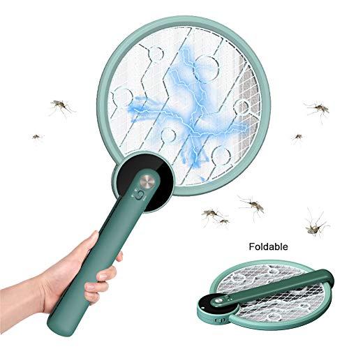 AICKERT Elektrische Fliegenklatsche Mit Klappbarem Griff, Elektrische Insektenvernichter, USB Angetrieben Mosquito Killer Stummschaltung Mückenkiller