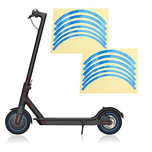 KAKAKE Cubierta de Rueda de Scooter eléctrico, Pegatina Reflectante de Scooter de practicidad Fuerte de Alta Resistencia para Scooter M365 / Pro para conducción Nocturna(Blue)