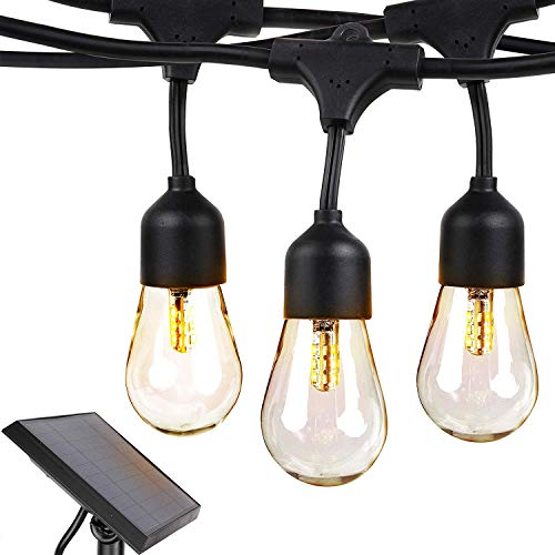 Brightech Ambience Pro - Waterproof, Solar Powered Outdoor String Lights - 27 Ft Hanging Edison Bulbs Create Bistro Ambience On Your Patio - Commercial Grade, Shatterproof - 1W LED, Warm White Light
