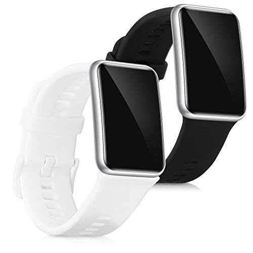 kwmobile Pulsera Compatible con Huawei Watch Fit - 2X Correa de TPU para Reloj Inteligente - Negro/Blanco