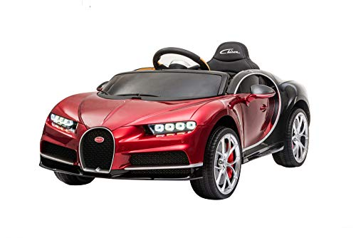 Ricco TOYS HR318 Bugatti Chiron Licensed 12V 7A Battery Powered Kids Electric Ride On Car with Metallic Paint Leather Seat and EVA Wheels (RED)