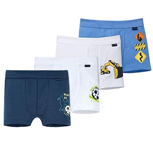 Schiesser - Kids Boys - Shorts - Pants - 4er Spar-Pack (128 Blau/Weiß - Fußball und Bagger Motiv)