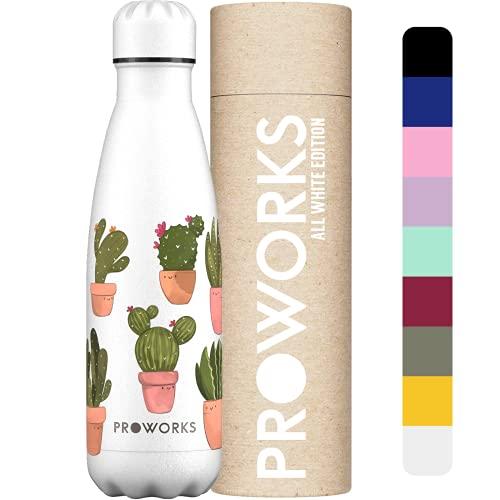 PROWORKS Bottiglia Acqua in Acciaio Inox Senza BPA Vuoto Isolato Borraccia in Metallo per 12 Ora Bevande Calde & 24 Ora Fredde, Borraccia per Sport e Palestra - 500ml - Bianco Cactus Felice