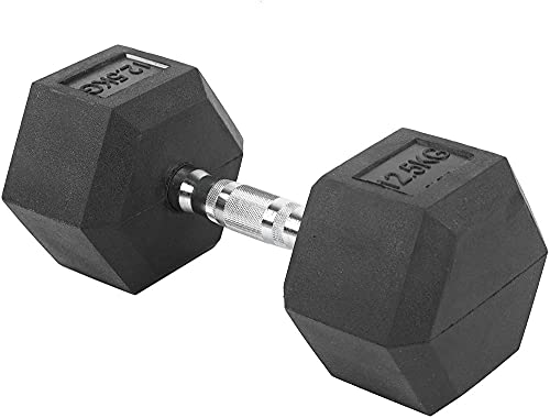 AMBM Gimnasio Hex Barbell Mancuernas de goma hexagonal gimnasio entrenamiento equipo de fitness sin desplazamiento 13x5 9 pulgadas 12.5kg