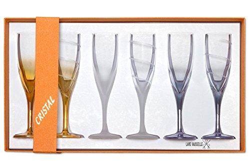 AlsaceCadeau Coffret de 6 flûtes colorées en Cristal
