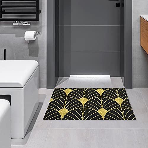 Artdeco Tapis de porte de salle de bain ou de cuisine Motif géométrique Doré et noir 40 x 60 cm