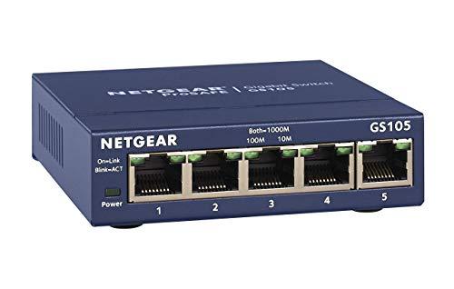 NETGEAR 5-Port Gigabit Ethernet Unmanaged Switch (GS105NA) - Desktop or Wall...