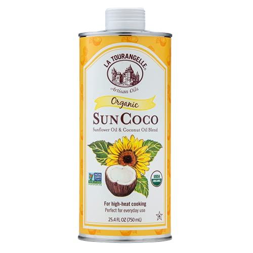 La Tourangelle, Organic Sun Coco Oil, Unique Blend of Organic High-Oleic Sunflower Oil and Organic Refined Coconut Oil, Heat Heat Cooking and DIY Beauty, 25.4 fl oz