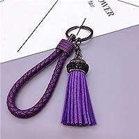 ファッションキーリングアクセサリータングステン鋼韓国カシミアタッセル車のキーチェーンリングの女性キーホルダーペンダント (Color : Purple, Size : Free)