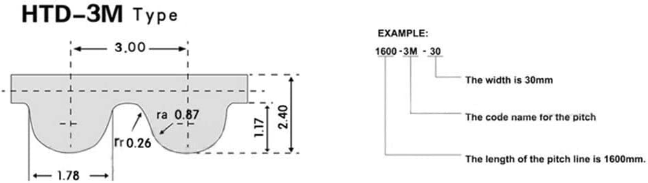 3M-339-10mm HTD 3M-339 Close Loop Timing Belt 3mm Pitch Synchronous Belt 10mm Width