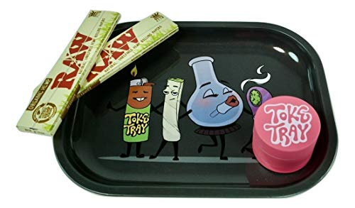 Rolling Tray Bundle with Pink Grinder | Set Includes - Smoke Squad Metal Tray, 2 Packs Raw King Size Slim Rolling Papers & 3-Piece Pink Zinc Grinder