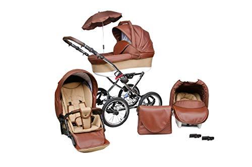 SKYLINE Klassisch Retro Stil LUX Kombi-Kinderwagen Buggy 3in1 Reise System Autositz (Isofix) (Braun/14'Luft Bereifung)