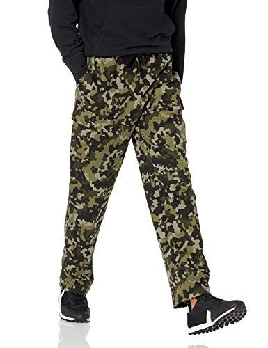 Amazon Essentials Cargo Fleece Sweatpant Pantaloni della Tuta, Verde Oliva, Motivo Mimetico Geometrico, L