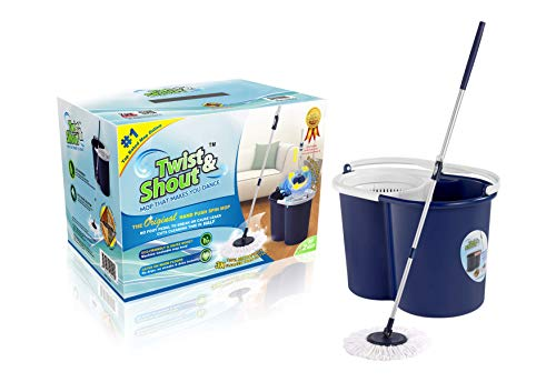Twist and Shout Mop - Award Winning Original Hand Push Spin Mop - Life Time Warranty (2 Microfiber Mopheads Included)