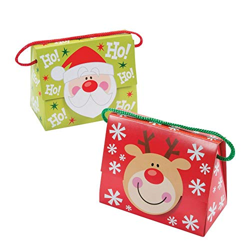 Fun Express Christmas Tent Boxes with Handle, 5 X 2 3/4 X 4 1/4-Inch with 4-Inch Handles (Pack of 12)