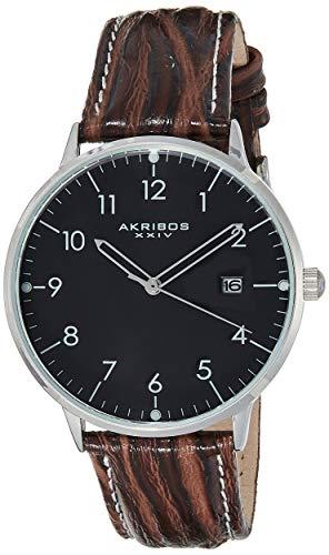 Akribos XXIV Men's Retro Swiss Quartz Watch - Easy-To-Read Arabic Numeral With Date Window On Leather Strap Watch - AK715