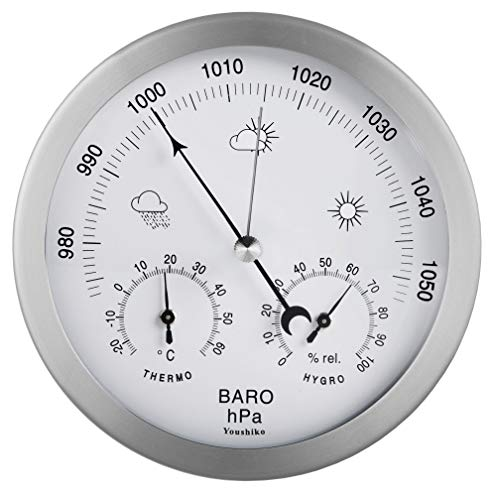 Youshiko 3 in 1 (Latest 2020 Version) Weather Station for Indoor and Outdoor use, diameter 14 cm, Barometer Thermometer Hygrometer with stainless steel frame