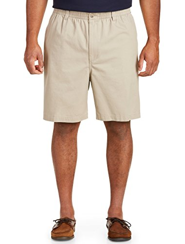 Harbor Bay by DXL Big and Tall Elastic-Waist Shorts, Khaki, 4X