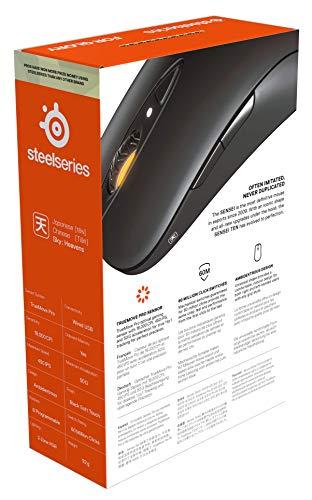 SteelSeries Sensei TenMouse da Gaming, Sensore Ottico Truemove Pro da 18.000 CPI, Design Ambidestro, 8 Pulsanti Programmabili, Cablata, Nero