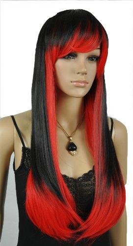 Qiyun Femme Longue Raide Noir Rouge Mixte Costume Partie Cosplay Complete Cheveux Perruque