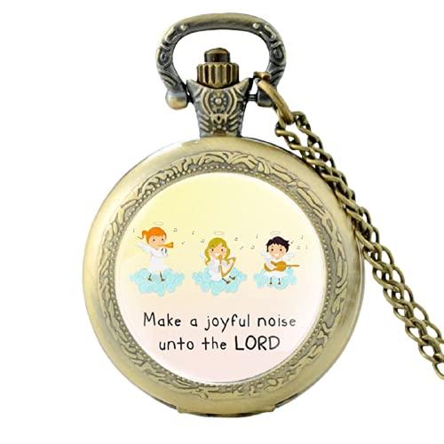 Reloj de bolsillo de cuarzo vintage 'Make A Joyful Noise Unto The Lord' para hombres y mujeres, colgante único collar cadena reloj horas