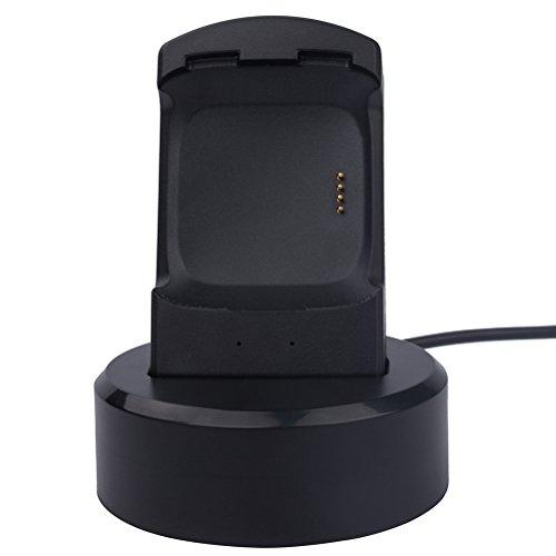 Fitbit Versa Ladegerät Ersatz Ladekabel Dock Station Stand mit LED-Anzeige für Fitbit Versa Smart Watch (schwarz)