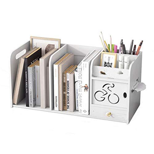 Alta capacidad Multi-compartimento Caja de almacenamiento de oficina Estudiante Estudio Organizador de escritorio con cajón de almacenamiento Bookshelf Soporte de bolígrafo Caja de tejido CREATIVO
