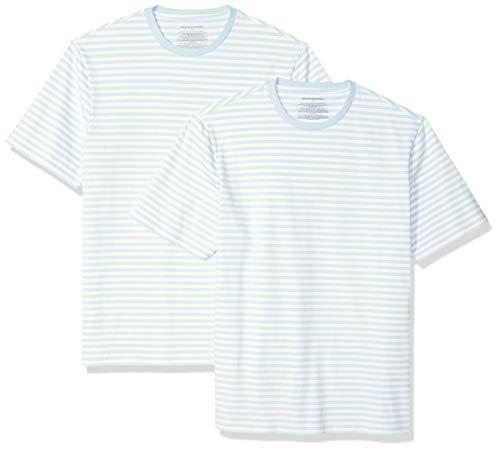 Amazon Essentials - Camiseta de manga corta holgada con cuello redondo y diseño a rayas para hombre, Aguamarina/blanco, Large, (Pack de 2)