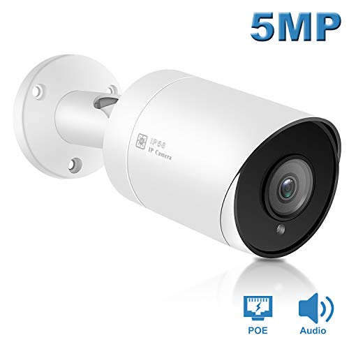 Anpviz 5MP Bullet IP POE Outdoor Camera,(Hikvision Compatible) with Microphone Audio Wide Angle Security Camera Outdoor Indoor, Motion Detection,Night Vision,Compatible with IVMS-4200(IPC-B850W-S)