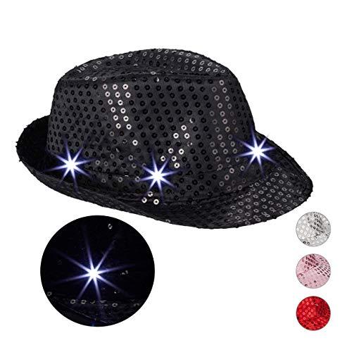 Relaxdays Cappello da Festa con Paillettes, 6 Luci a LED, Glitter, da Uomo e Donna per Adulti, Nero, Taglia Unica, 10023897_46