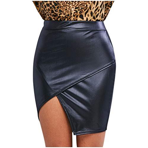 HEling Minifalda Moda para Mujer Cross Open Fork Asimétrico Casual Falda Faux Leather Tight