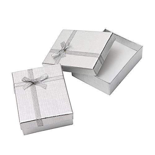 Schmuck Geschenkbox (12 Teiliges) - (8,5x6,5x2,5cm) Geschenkbox mit Schaumstoffpolster - Präsentation Geschenkbox mit Schleife und Band Design für Halsketten, Armbänder, Ringe und Ohrringe (Silber)