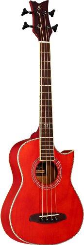 Ortega D-Walker-RD - Bajo acústico (escala corta, funda, correa de nailon), color rojo