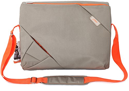 Bipra 15.6 Inch Laptop Messenger Bag Grey/orange Design Suitable for 15.6 Inch Fits Most Devices Netbooks, Laptop Computers, Tablets, Ipad