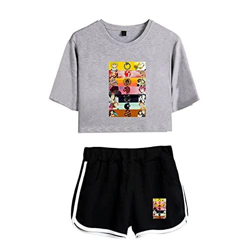 BBCS The Seven Deadly Sins Shorts De Dos Piezas para Mujer K-Pops De Dos Piezas + Camisetas Ropa Informal para Niñas