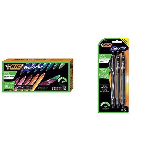 BIC Gel-Ocity Quick Dry Gel Pens, Medium Point Retractable Gel Pen (0.7mm), Assorted Colors, 12-Count & Gel-Ocity Quick Dry Gel Pens, Medium Point Rectractable (0.7mm), Black Ink Gel Pen, 3-Count