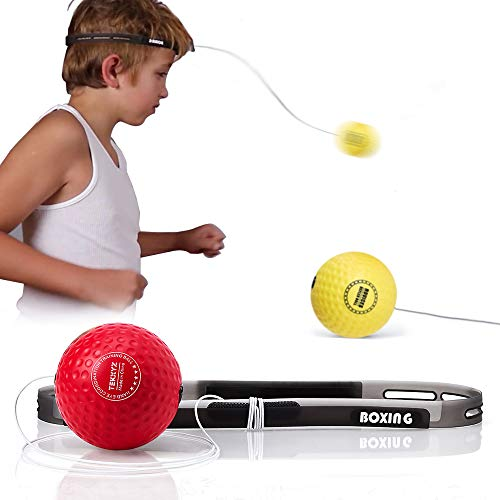 TEKXYZ Boxing Reflex Ball, 2/3/4 Different Boxing Ball with Headband, Softer Than Tennis Ball, Perfect for Reaction, Agility, Punching Speed, Fight Skill and Hand Eye Coordination Training