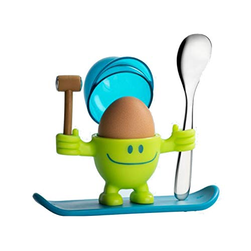 WMF McEgg Eierbecher mit Löffel, lustiger Eierbecher Kinder, Kunststoff, Cromargan Edelstahl poliert, spülmaschinengeeignet, lemongreen, grün
