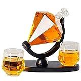 MUYEY Gathering Family Whisky Decanter Diamond Whisky Decanter Set Licor Decanter con 2 Tazas de Vidrio Craft Botella de Vino Soporte Decantador de vinos