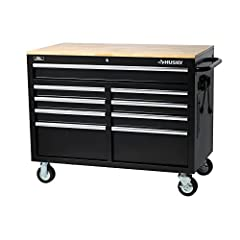 The all new Husky Extra-Deep 46 in. 9-Drawer Mobile Work Bench has arrived! This work bench is 24.5 in. deep, which creates 36% more storage capacity than traditional 18 in. deep units. The extra depth also means there is a much larger solid wood top...